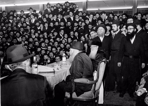 The Rebbe speaking at a farbrengen at 770 Eastern Parkway.