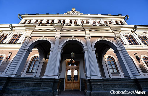 The 100-year-old historic synagogue in Kazan, the capital and largest city of the Republic of Tatarstan in Russia, has undergone a complete renovation. (Photo: Eli Segal)