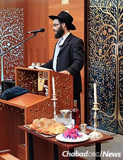 Rabbi Shmuel Kot, the country's chief rabbi and Chabad emissary, leads a program prior to the start of Shabbat.