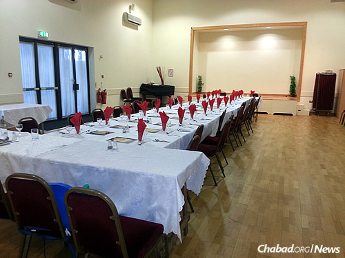 All set up for a Shabbat dinner, held in addition to the regular slate of programming that the Chabad couple runs, including a Sunday school. An adult-education course starts on Wednesday, Oct. 28.