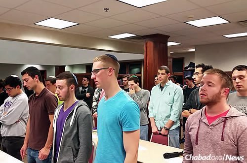A prayer service for Israel attended by students at Binghamton University in Upstate New York. (Photo: Chabad of Binghamton)