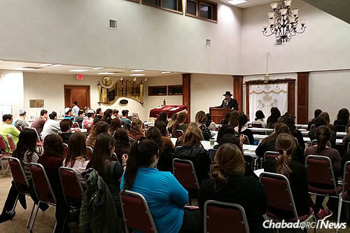 The service was sponsored by the Rohr Chabad Center for Jewish Student Life at Binghamton University, co-directed by Rabbi Aharon and Rivkah Slonim. (Photo: Chabad of Binghamton)