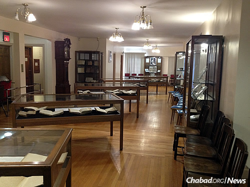 The library offers regular exhibits—a previous one featured antique books from 1475-1574 during the first 100 years of Hebrew print. The current exhibition marks 150 years since the Tzemach Tzedek's passing in 1866.