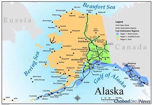 Wasilla is about an hour northeast of Anchorage, but due to weather and road conditions, it can be difficult to drive back and forth for Jewish programs, classes and events. (Map: State of Alaska DEC)