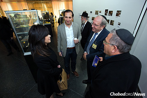 From left: New York resident Deborah Halberstam with Saad and Nseiri. The museum is dedicated to the memory of Halberstam's teenage son, Ari Halberstam, who was shot and killed by terrorists in 1994 while he was traveling in a van with others across the Brooklyn Bridge. (Photo: Meir Pliskin)