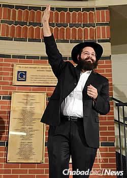 Rabbi Yehoshua Soudakoff at last year's Chanukah menorah-lighting at Gallaudet University in Washington, D.C. (Photo: Kami Padden)