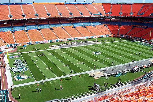 The Joe Robbie Stadium, the former name of the home of the Miami Dolphins football team, where the first public Chanukah menorah-lighting at a sports stadium took place in 1987 by Rabbi Raphael Tennenhaus, co-director of Chabad of South Broward in Hallandale, Fla. (Photo: Wikimedia Commons)