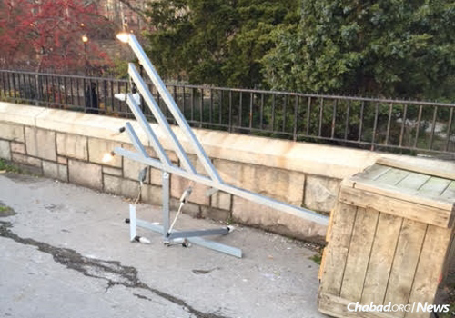 This Manhattan menorah was vandalized twice over the course of a few days. The incidents are being investigated by the New York Police Department's Hate Crimes unit.