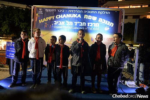 A boys' school choir performed at the festivities on Wednesday night. (Photo: Meir Alfasi)