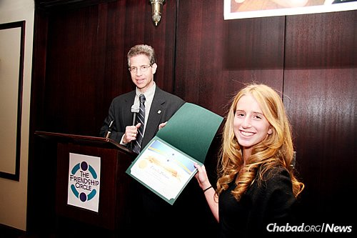 Daniella Moffson, a pre-med student at Barnard College, was one of three people killed in a bus crash in Honduras while on a student volunteering trip. Several years ago, she received an award from Friendship Circle, presented by Manhattan Assistant District Attorney Gary Galperin.