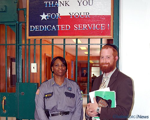 Goldstein with Capt. Watson, the kitchen captain when the kosher kitchen was opened at Stringfellow Unit, one of four prisons that cater to the needs of Jewish inmates in the state of Texas, where between 60 and 120 Jewish people are incarcerated.