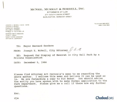 A memo from City Attorney John McNeil to Mayor Bernie Sanders laid out their legal reasoning behind allowing the Chabad-Lubavitch Menorah to stand in City Hall Park. Credit: 21/30, Bernard Sanders Papers, Special Collections, University of Vermont Library.