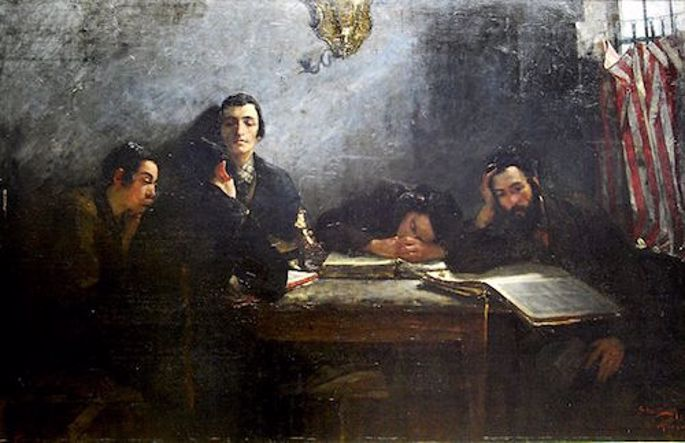 """Samuel Hirszenberg, """"Szkola_talmudystów"""""""