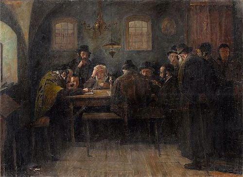"Samuel Hirszenberg, em ""Juden beim Talmudstudium, Paris"""