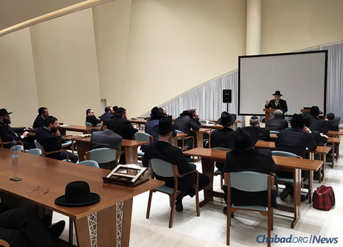 Barada heads a workshop for the directors of Moscow's 28 Chabad centers during a gathering last month at Zhukovka.