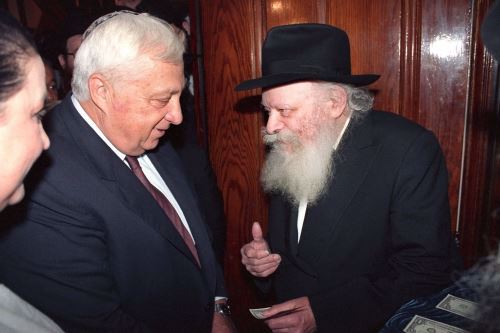 Ariel Sharon meeting the Rebbe
