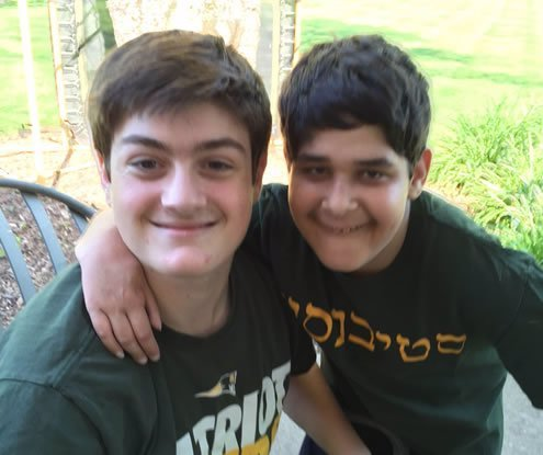 Jacob Grossman, 17, right, with his Friendship Circle buddy Jake Guria, 16.