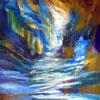 Moshé golpea la roca y el agua brota con fuerza