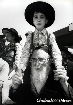 Citizens of Kfar Chabad, Israel, came out in droves to greet the new arrivals.