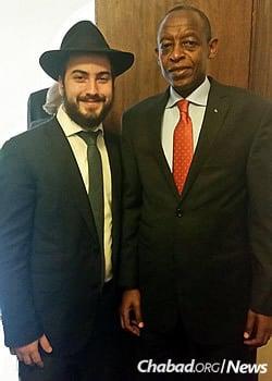 The rabbi with Rwanda's ambassador to Kenya, James Kimonyo