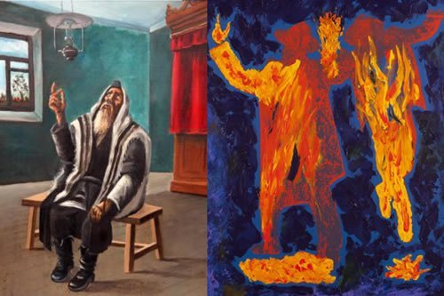"Left: ""Intense Prayer,"" oil on canvas, by Chanoch Hendel Lieberman, 1962. Right: ""Soul Dance,"" acrylic and ink on canvas, Yitzchok Moully, 2015."