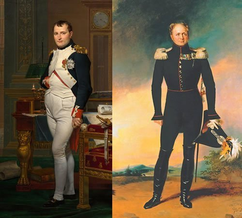 À gauche: Napoléon. À droite: Alexander Ier.