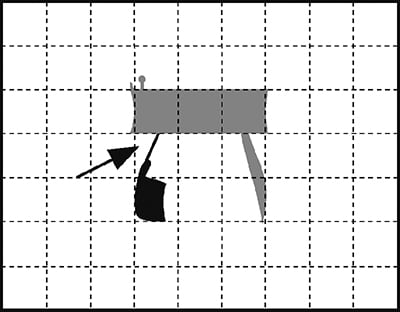 Fig. 36: The letter hei invalidated by a hairsbreadth contact.