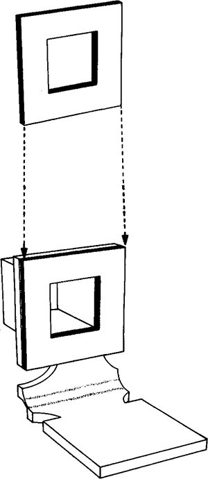 Fig. 44: An additional square of leather is usually glued to the upper part of the base.