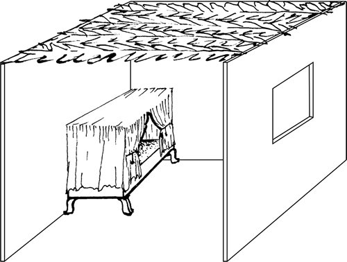 Fig. 7: The frame (kinof) of this canopy bed is described in sec. 627:4.