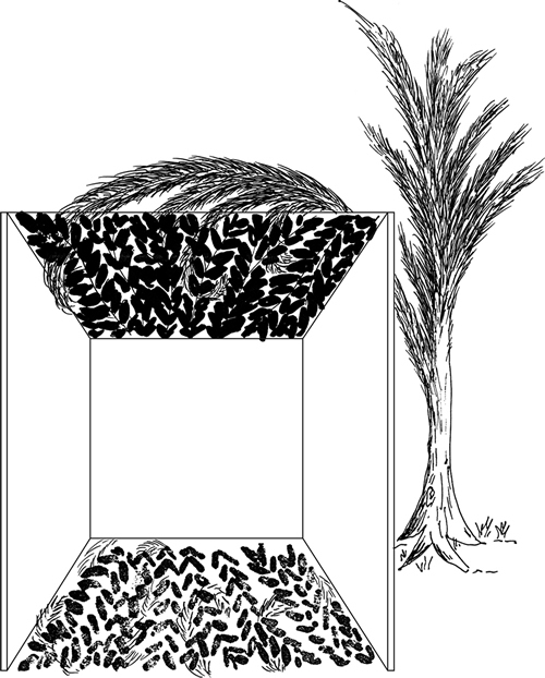 Fig. 5: In this sukkah, described in the first paragraph of sec. 626:7, there is enough valid s'chach to cast a shadow over (say) 90% of the floor area. However, so much invalid material is intermingled with it that it alone would be able to cast a shadow over (say) 60% of the floor area. This invalid material is therefore not nullified vis-à-vis the greater quantity of valid s'chach (90% – 60% = 30%). The sukkah is thus invalid.