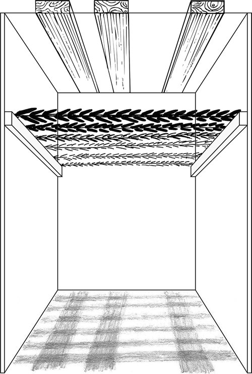 Fig. 1: In this diagram, 60% of the floor area is shaded by valid s'chach. However, the uppermost covering is invalid, since it is made of boards that are more than four tefachim wide (see sec. 629:29). The shadow it casts – overlapping (say) 30% of the area – nullifies the shade produced by the corresponding amount of valid s'chach directly beneath it. Hence only [60% – 30% =] 30% of the floor area is now shaded by valid s'chach. Since this is less than half of the floor area, this sukkah is invalid. (See sec. 626:3.)