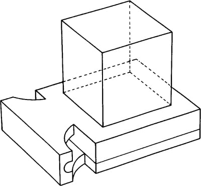 Fig. 43: In order to maintain the square shape of the base (titura) of the tefillin, a quarter-circle indent is cut away at both sides of the passageway (maabarta) which projects from the base.