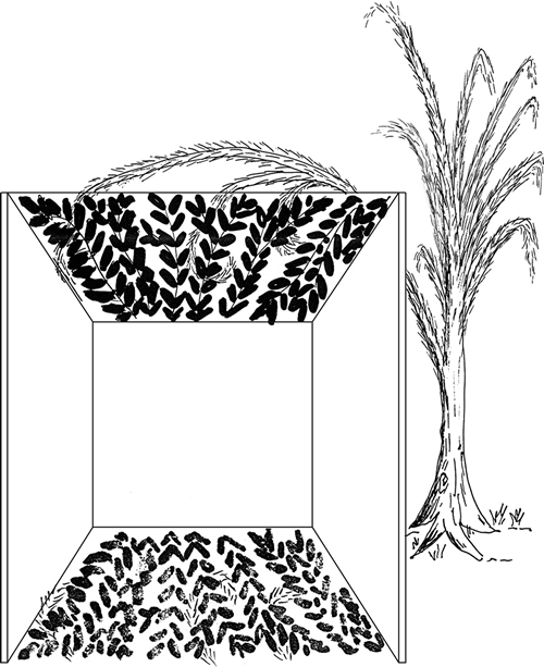 Fig. 3: Sec. 626:5 describes a case in which the shade over 60% of the floor area remains valid, despite the presence of 30% shade produced by the intermingled, invalid covering. The sukkah is thus valid.