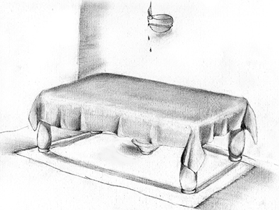 Fig. 10: A Bowl Placed Under a Table To Collect Oil After the Table is Moved