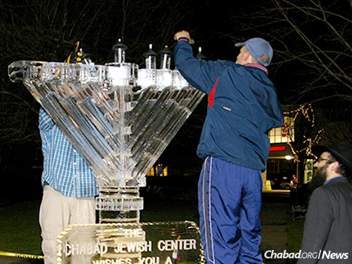 Lighting the ice menorah in Needham, Mass., to be done again this year by town hall.