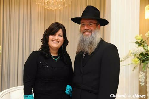 Pnina Kotzer, a Chabad-Lubavitch emissary in Eilat, Israel, with her husband, Rabbi Yechiel Kotzer